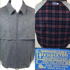 Vtg Pendleton Grey Wool Red Plaid Lining Jacket
